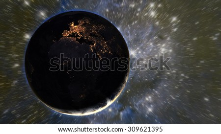 Europe & Africa from space at night - (Elements of this image furnished by NASA) - stock photo