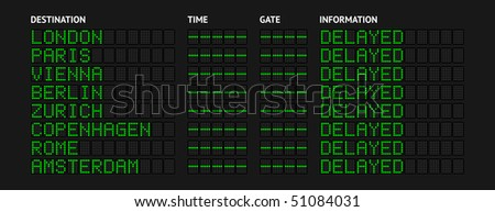 Europe Airport Flight Information Board — Delayed - stock photo