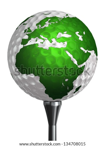 europe and africa continent on golf ball isolated on white background. clipping path included - stock photo