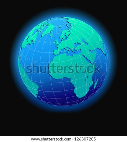 Europe and Africa, Global World in Space - Raster Version - stock photo