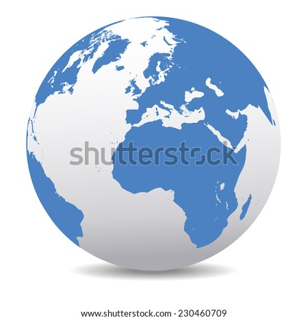 Europe and Africa Global World - Raster Version - stock photo