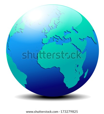Europe and Africa, Globe World - The base map is from NASA and Hand Drawn using the pen tool for maximum detail - Raster Version - stock photo