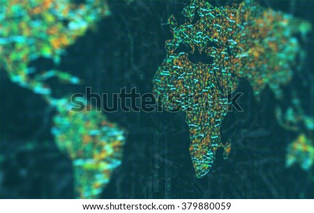 Europe and Africa in focus. The map of the world represented by illuminated digital connections. 3D image with depth of field on a LED screen. - stock photo