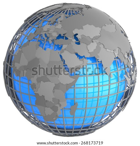 Europe and Africa on a grey geographic net enveloping Earth, isolated on white background. - stock photo