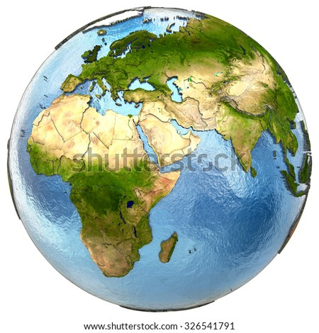 Europe and Africa on highly detailed planet Earth with embossed continents and country borders. Isolated on white background. Elements of this image furnished by NASA.