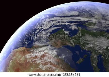 Europe and Asia as well as the Noth of Africa: computer generated image of planet earth in space. Elements of this image furnished by NASA.