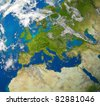 Europe and European union countries including France Germany Italy and England surrounded by blue ocean and clouds. - stock photo