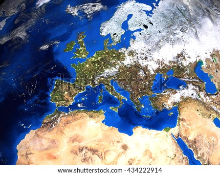 Europe North Africa Map View Space Stock Illustration 434222914