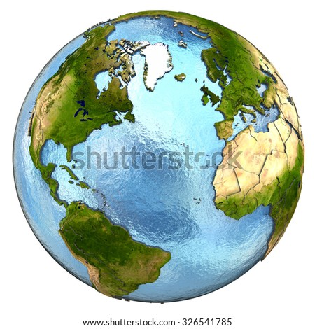 Europe and north America on highly detailed planet Earth with embossed continents and country borders. Isolated on white background. Elements of this image furnished by NASA.