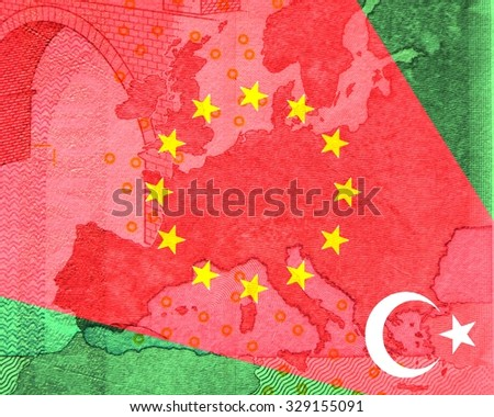 Europe and Turkey relationship Starting from crescent moon and star of the Turkish flag spreads a red ray in South-East to North-West on the map of Europe - stock photo