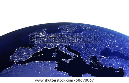 Europe at night on white. Maps from NASA imagery - stock photo