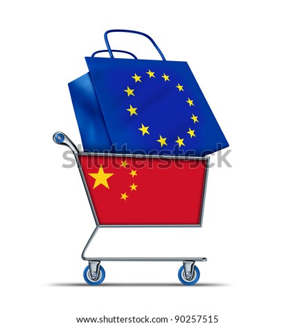 Europe bailout with China buying European debt with a shopping cart as a Chinese concept and a bag with a flag of the European Union as an economic trading idea of selling  European assets to Asia. - stock photo