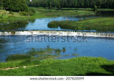 Europe; Baltic; Latvia; Kuldiga.  The most extensive falls in Europe on Vent's river. - stock photo