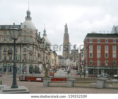 Europe, Belgium. Antwerp. View from the embankment on the Cathedral of the Sacred Mother of God. - stock photo