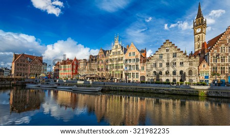 Europe Belgium medieval town travel background - panorama of Ghent canal and Graslei street on sunset. Ghent, Belgium - stock photo