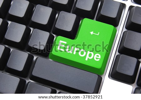 europe button on a black computer keyboard