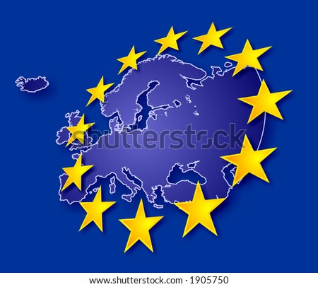 Europe continent with EU stars, symbolic illustration of European Union (stars are overlapping land contour)