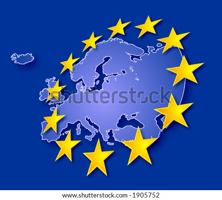 Europe continent with EU stars, symbolic illustration of European Union (stars are overlapping land contour) - stock photo