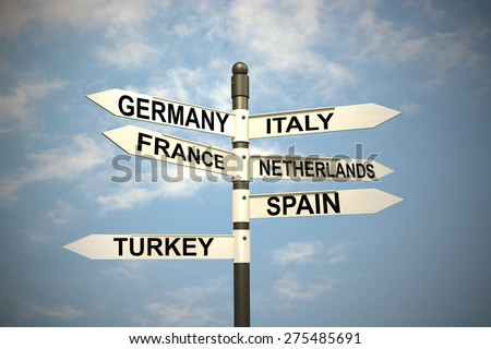 Europe Countries and  signpost against blue sky - stock photo
