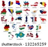 Europe countries From A to L  flag maps on a white background - stock vector