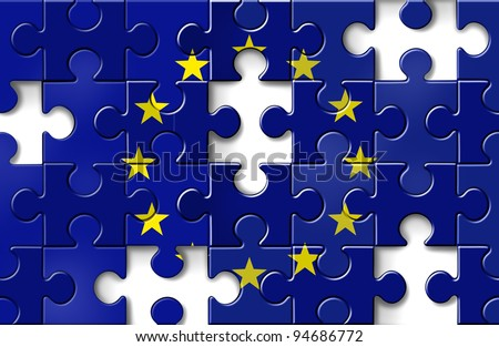 Europe crisis as a European flag in a jigsaw puzzle with pieces missing as a financial crisis that needs banking assistance and loan guarantees for default in countries as Greece Italy Spain France. - stock photo