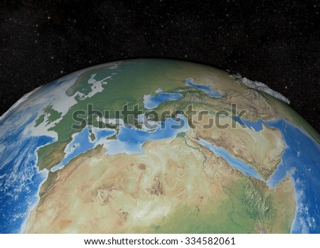 Europe 3D Render. Elements of this image furnished by NASA