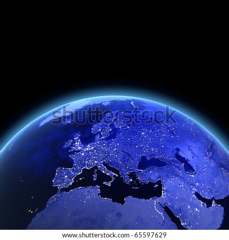 Europe 3d render. Maps from NASA imagery - stock photo