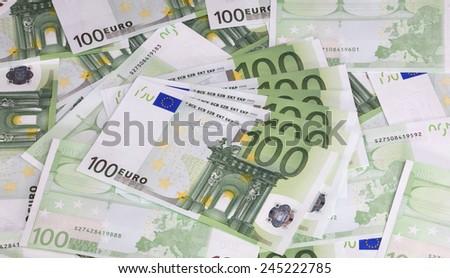 europe euros banknote of hundreds  - stock photo