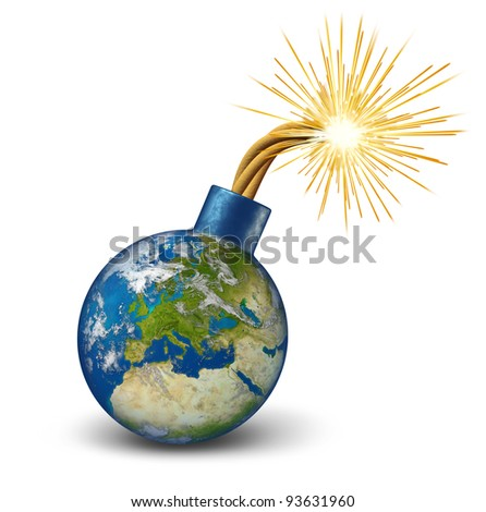 Europe financial bomb as an earth map of European union with lit burning fuse sparks as a dangerous economic Euro debt warning and banking crisis with countries as France Italy Greece Spain Portugal. - stock photo