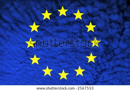 europe flag among clouds illustration, computer generated