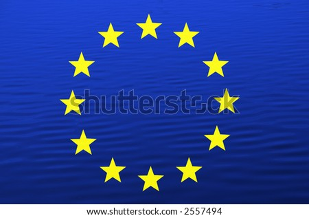 europe flag illustration among water, computer generated