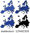 Europe flag over map collage - stock photo