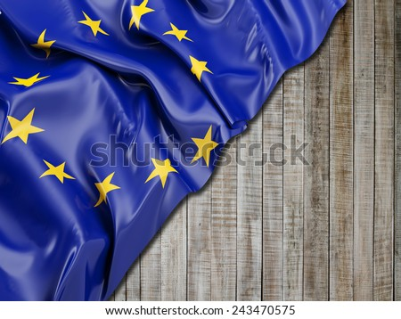 Europe flag with vertical wood