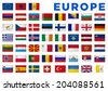 Europe flags of all European countries. Clipping path included. - stock vector