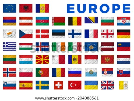 Europe flags of all European countries. Clipping path included. - stock photo