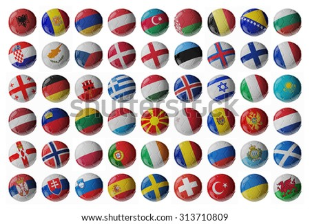 Europe football. Set of soccer balls with flags. 3D render - stock photo