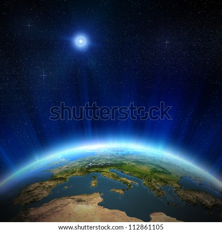 Europe from space, 3d landscape and water. Elements of this image furnished by NASA - stock photo