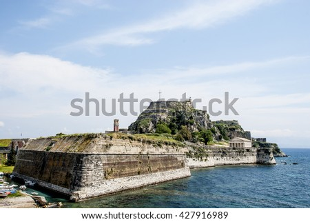 Europe, Greece. Old fortress to Corfu is constructed on artificially created rocky island.
