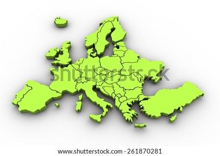 Europe in green - stock photo