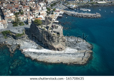 europe, italy, sicily, catania, acicastello, the castle from above - stock photo