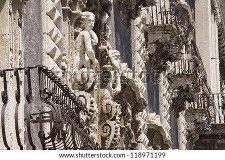 europe, italy, sicily, Catania, Baroque benedettini balcony, unesco eritage list