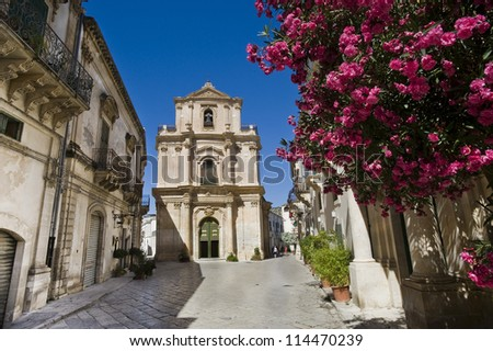 europe, italy, sicily, old baroque street - stock photo