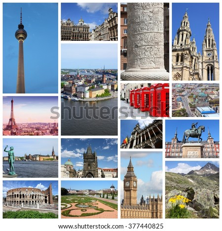 Europe landmarks photo collage with London, Paris, Rome, Madrid, Prague, Brussels, Stockholm, Vienna, Berlin and Alps. - stock photo