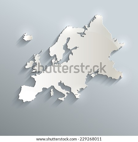 Europe map blue white card paper 3D raster - stock photo