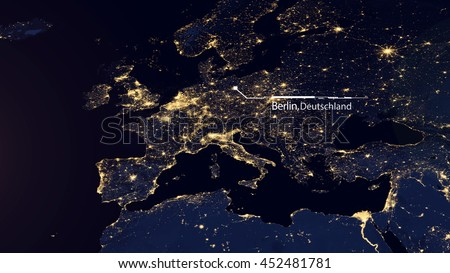 Europe Map Composition - GPS Technology Satellite Location - Berlin, Germany (Elements of this image furnished by NASA)