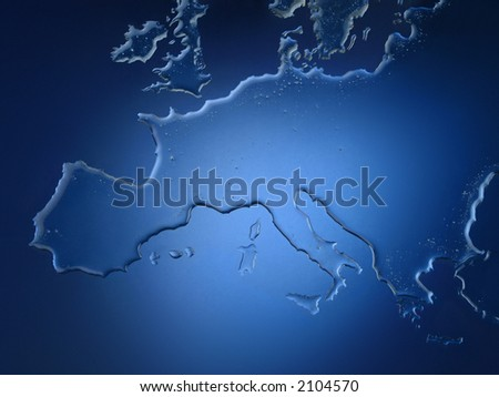 europe map made with water over a blue background