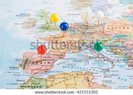 Europe Map pins travel for your planning trip.