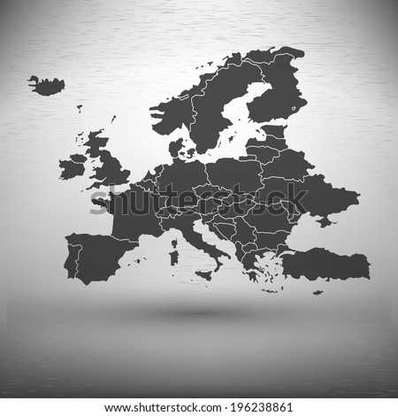 Europe map with the shadow on gray background illustration