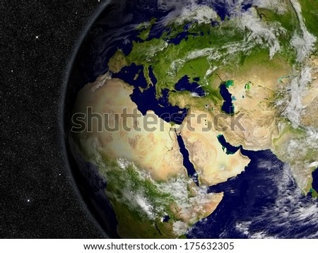 Europe, Middle East and Africa region on planet Earth from space with stars in the background. Elements of this image furnished by NASA. - stock photo