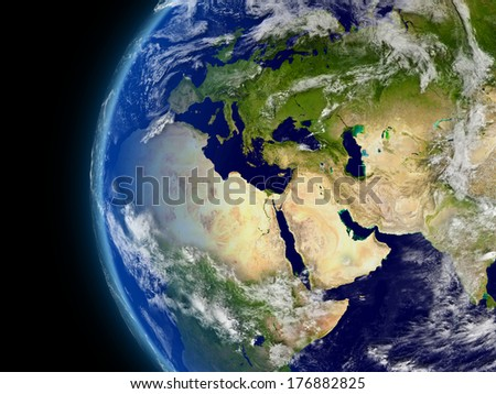 Europe, Middle East and Africa viewed from space with atmosphere and clouds. Elements of this image furnished by NASA. - stock photo